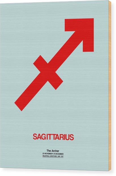 Sagittarius Zodiac Sign Red Wood Print