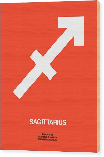 Sagittarius Zodiac Sign White On Orange Wood Print
