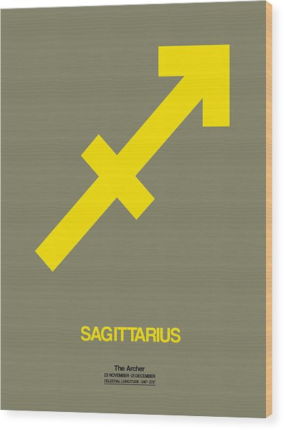 Sagittarius Zodiac Sign Yellow Wood Print