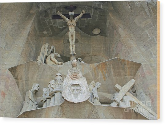 Sagrada Familia Crucifixion Wood Print
