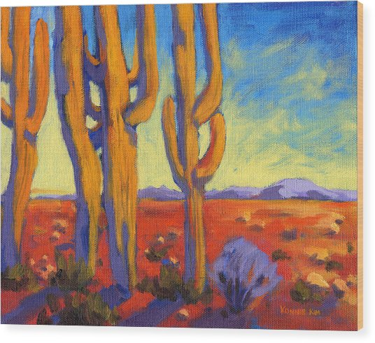 Wood Print featuring the painting Desert Keepers by Konnie Kim