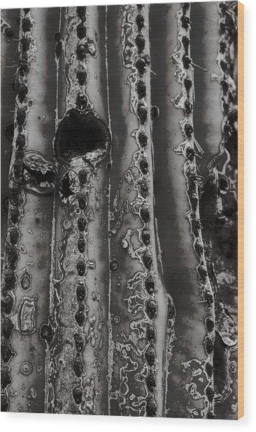 Saguaro Cactus Black And White 1 Wood Print