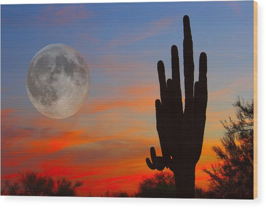 Saguaro Full Moon Sunset Wood Print