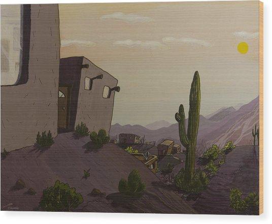 Saguaro Sunset Wood Print