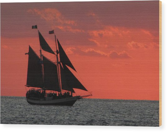 Key West Sunset Sail 5 Wood Print
