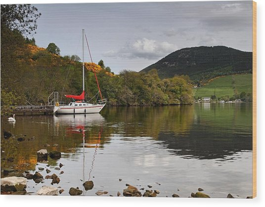 Sail Boat On Loch Ness Wood Print