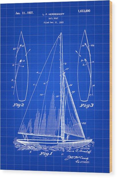 Sail Boat Patent 1925 - Blue Wood Print