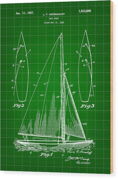 Sail Boat Patent 1925 - Green Wood Print