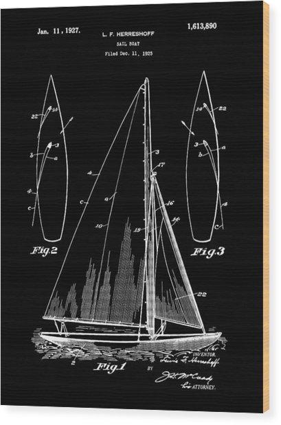 Sail Boat Patent 1925 - Black Wood Print