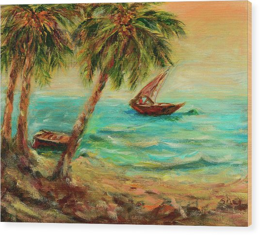 Sail Boats On Indian Ocean  Wood Print