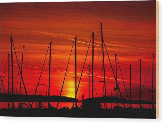 Sail Silhouettes Wood Print