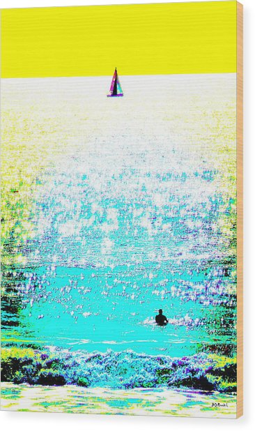 Sailboat And Swimmer -- 2c Wood Print by Brian D Meredith