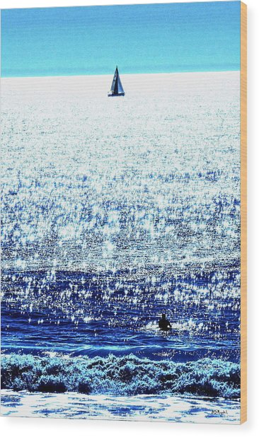 Sailboat And Swimmer Wood Print by Brian D Meredith