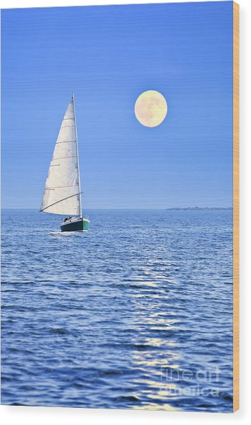 Sailboat At Full Moon Wood Print