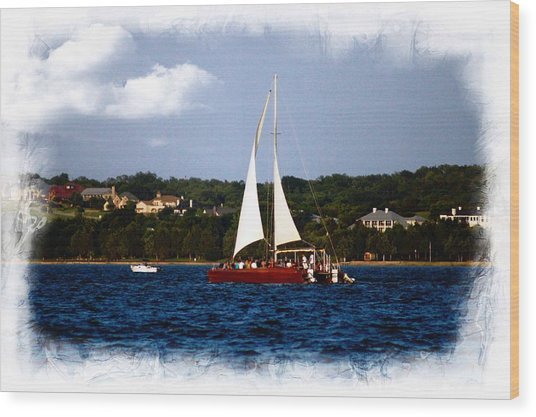 Sailboat At Lake Ray Hubbard Wood Print