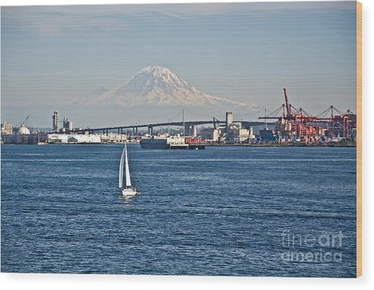 Sailboat Foreground Mt Rainier Washington Landscape Wood Print