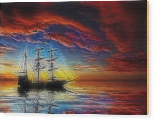 Sailboat Fractal Wood Print