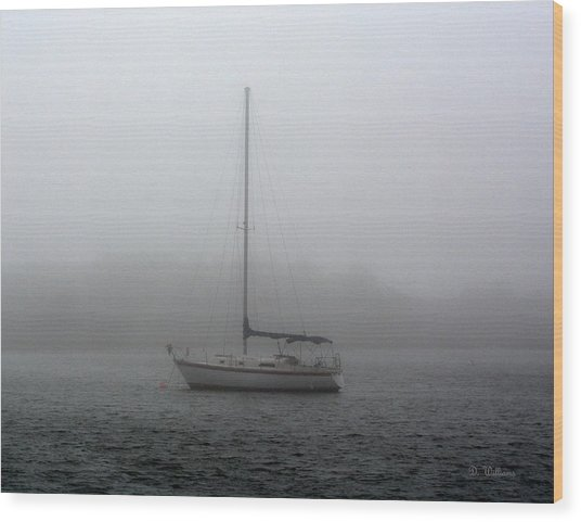Sailboat In The Fog Wood Print