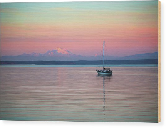 Sailboat In The Sunset. Wood Print