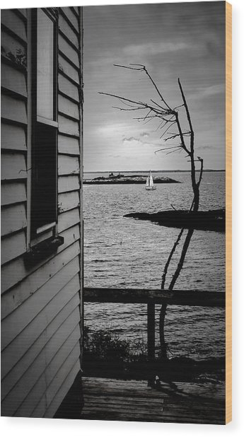 Sailboat Off Star Isle Wood Print