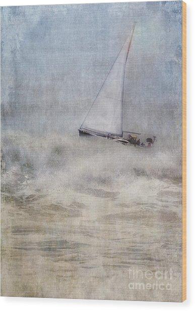 Sailboat On High Seas Wood Print