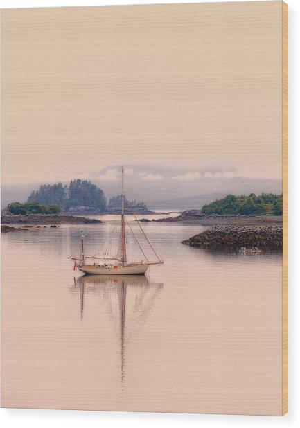 Sailboat On Inside Passage Of Alaska Wood Print