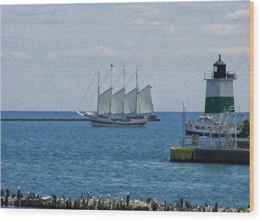 sailboat on Lake Michigan Wood Print