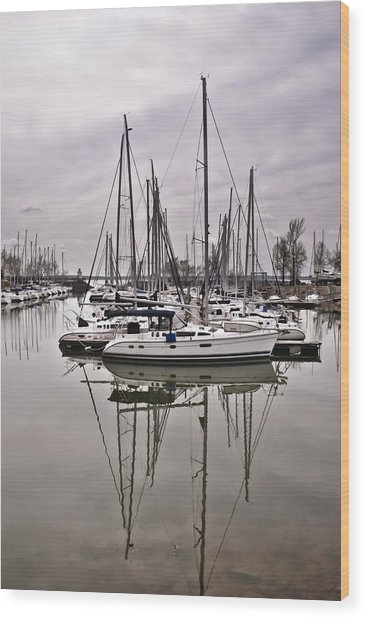 Sailboat Row Wood Print