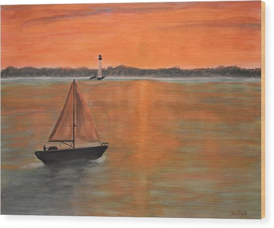 Sailboat Sunset Wood Print