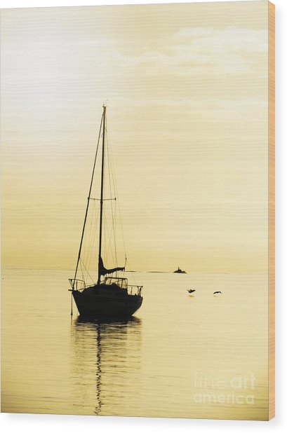 Sailboat With Sunglow Wood Print