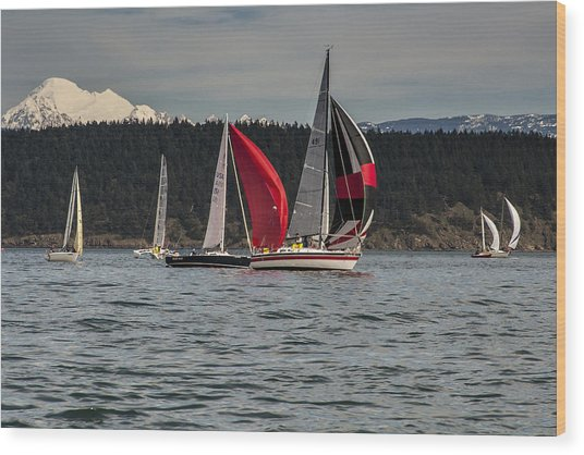 Sailboats And Mt Baker Wood Print