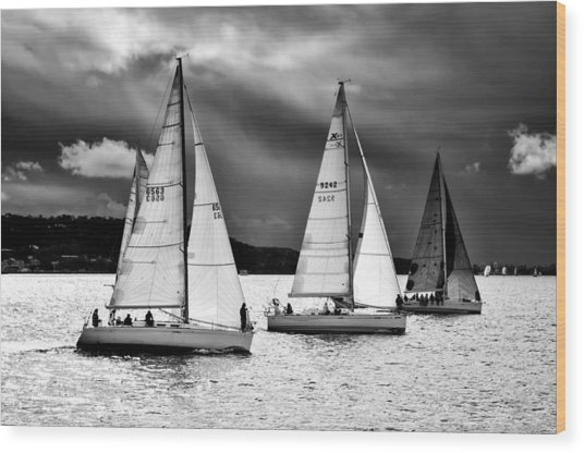 Sailboats And Storms Wood Print