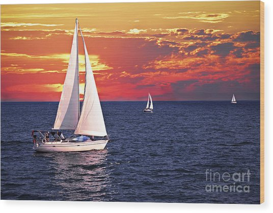 Sailboats At Sunset Wood Print