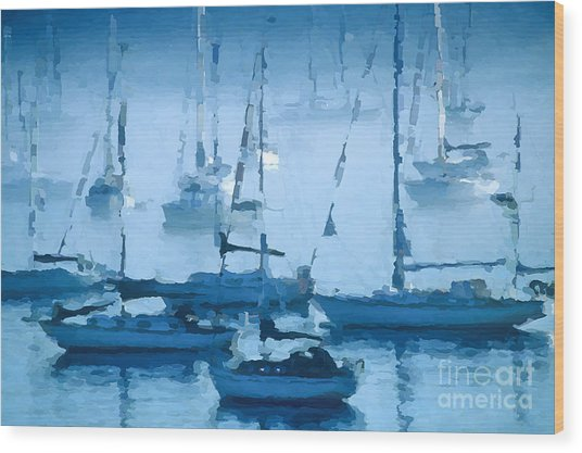 Sailboats In The Fog II Wood Print