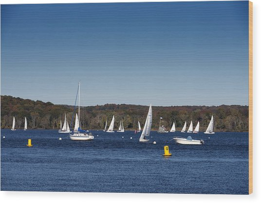 Sailboats On The Connecticut River Wood Print