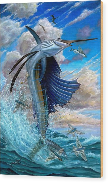 Sailfish And Flying Fish Wood Print