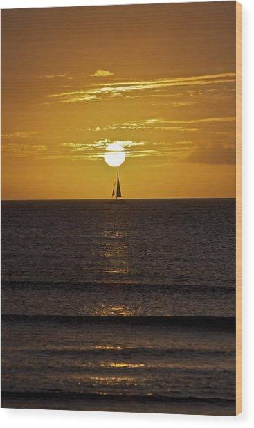 Sailing At Sunset Wood Print