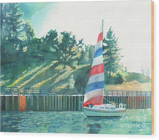 Sailing Back To Port, Sail Boat Paintings, Sail Boat Prints, Sailing, Pentwater, Michigan, Lakes Wood Print