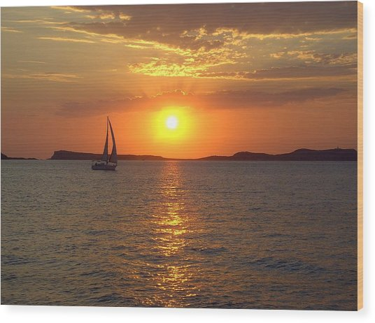 Sailing Boat In Ibiza Sunset Wood Print