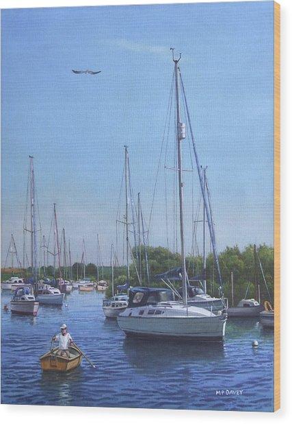 Sailing Boats At Christchurch Harbour Wood Print