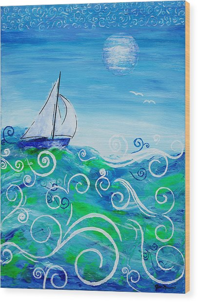 Sailing By Jan Marvin Wood Print