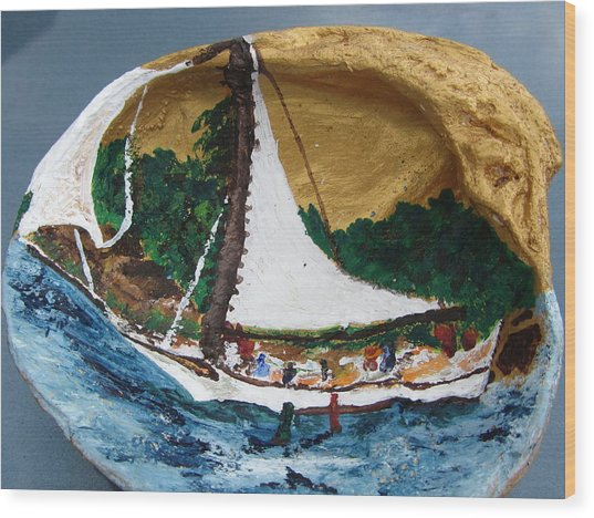 Sailing Forest Sea Wood Print by Debbie Nester