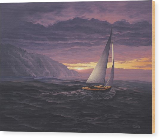 Sailing In Paradise - Big Sur Wood Print