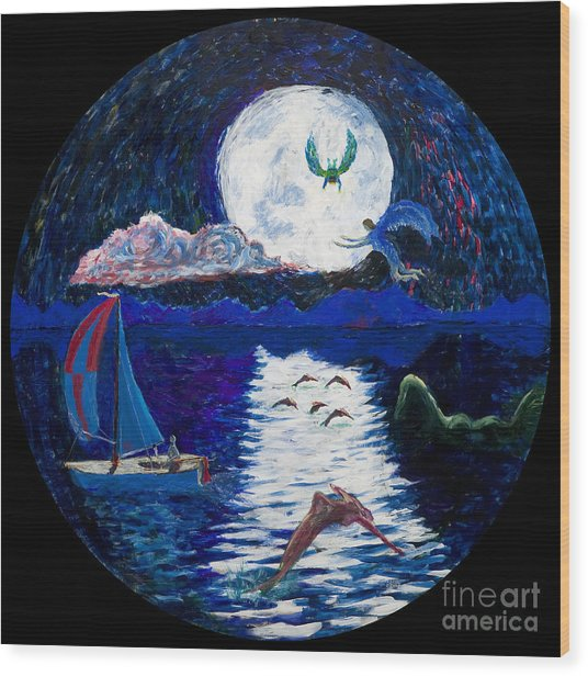 Sailing In The Moonlight Wood Print