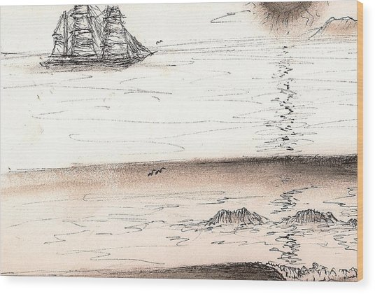 Sailing Into The Past Wood Print