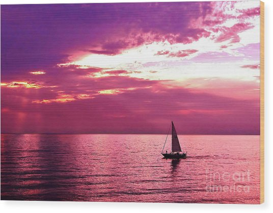 Sailing Into The Setting Sun Wood Print