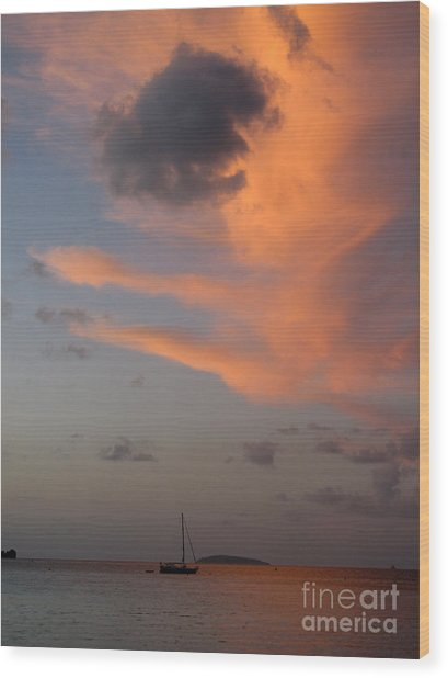Sundown Over Trunk Bay Wood Print