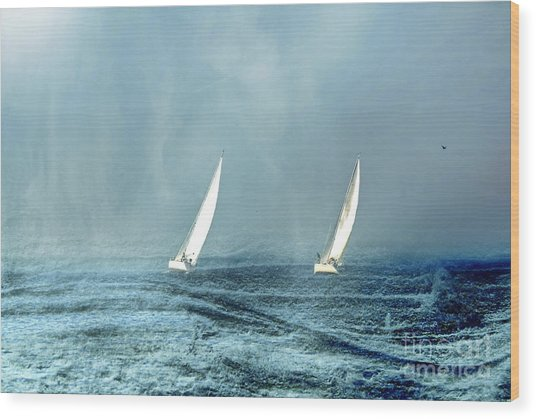 Sailing Into The Unknown Wood Print