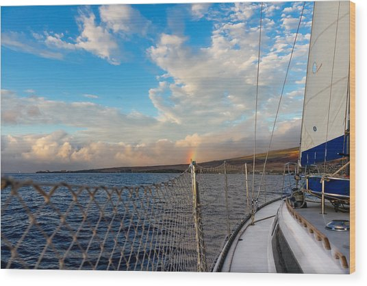 Sailing Lahaina Bay Wood Print