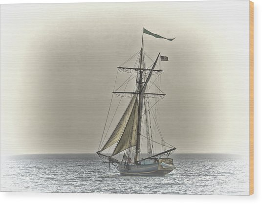 Sailing Off Wood Print